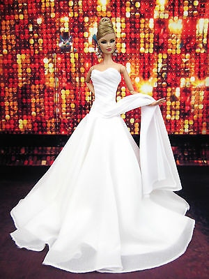 Eaki White Chiffon Silkstone Barbie Fashion Royalty Evening Dress Outfit Gown FR