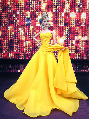 Eaki Yellow Chiffon Silkstone Barbie Fashion Royalty Evening Dress Outfit Gown