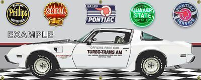 1980 Pontiac Turbo Trans Am Indy 500 Pace Car Garage Scene Banner Sign Art 2X5