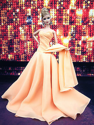 Eaki Peach Chiffon Silkstone Barbie Fashion Royalty Evening Dress Outfit Gown FR
