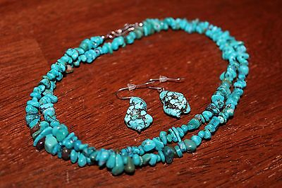 VTG Native Navajo Sterling Silver clasp Turquoise Chip Necklace earrings set