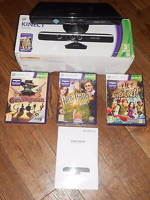 Microsoft Xbox 360 Kinect + 3 Game Bundle Boxed & In Vgwc + Free Uk Post