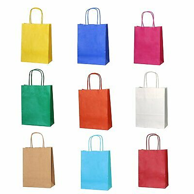 Party Gift Coloured Paper Kraft Carrier Bags Christmas Mothersday Birthday All