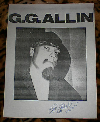 GG ALLIN SIGNED PHOTO *Autographed by GG with his PRISON NUMBER in 1991* g g