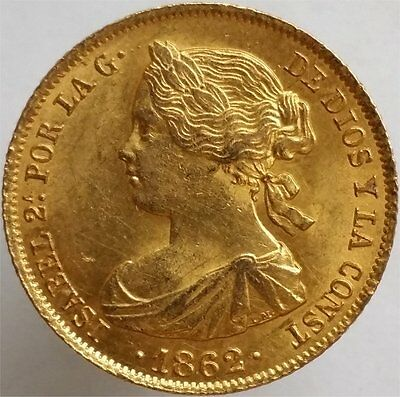 1862 Gold 100 Reales Spain, Very Scarce, Uncirculated
