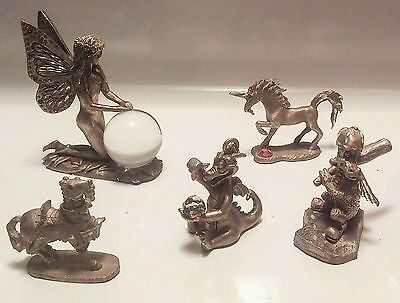 Dragons, Fairy, Unicorn... Lot of Collectible Pewter Figurines