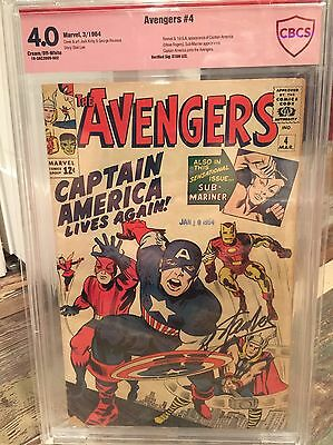 Marvel The Avengers # 4 First Sa Cap America Cbcs 4.0 Not Cgc Ss Stan Lee Signed