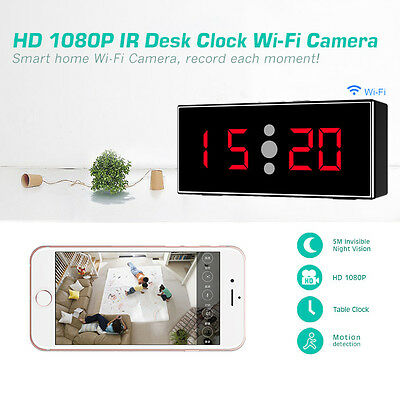 Wi-Fi HD 1080P IR Table Clock with Motion Detection Night Vision Camera