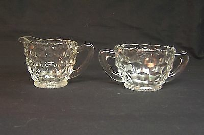 Vintage CUBE JEANNETTE GLASS CO. Cream and Sugar Set