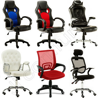 Office Leather Swivel Adjustable Luxury Racing Faux Computer Desk Chrome Chair