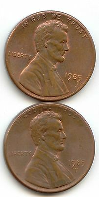 USA 1985 1985D American PENNIES One Cent Coins Lincoln 1c EXACT PENNY SET SHOWN
