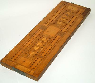 Vintage Cribbage Board Inlaid Woods - Marquetry