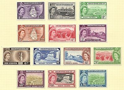 1953 Qe11 Montserrat Set Of 13 Mint Definitive Stamps To $1.20