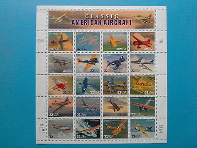 Planche timbres complète Classic American Aircraft Avion USA neufs Pas PayPal