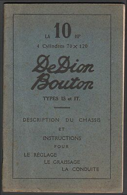 Catalogue. Automobile. De Dion Bouton. La 10HP. Vers 1910