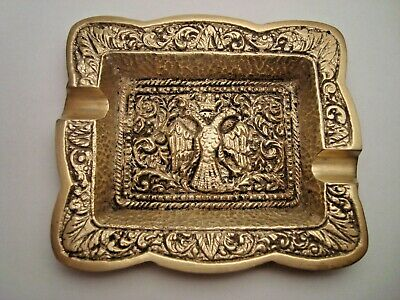 Greece vintage solid brass ashtray with Byzantine Double-Headed Crowned Eagle #6
