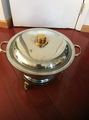 New Stainless Steel Round Buffet Chafer Chafing Serving Dish 4 Quart Qt.