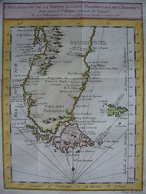 1753 - BELLIN - Map CHILE ARGENTINA PATAGONIA Land of Fire Strait of Magellan