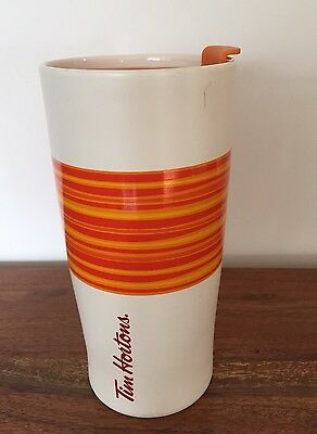 Tim Hortons 2015 Limited Edition Orange Summer Coffee Travel Mug Cup