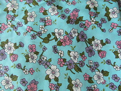 Floral Aqua Pink Lilac Green White Vintage Cotton Printed Quilting