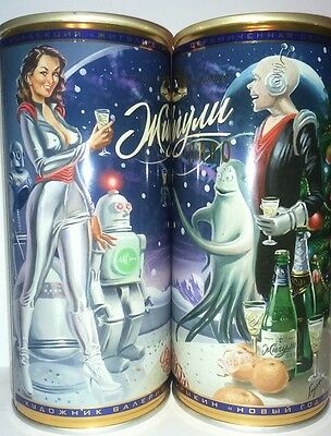 Zhiguli 1 Liter beer can from Russia. Exlusive PIN-UP STYLE # 19 bottom opened