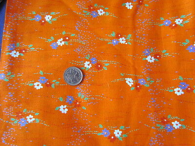 Vintage Cotton Printed Small Floral abstract Orange purple Quilting Excellent