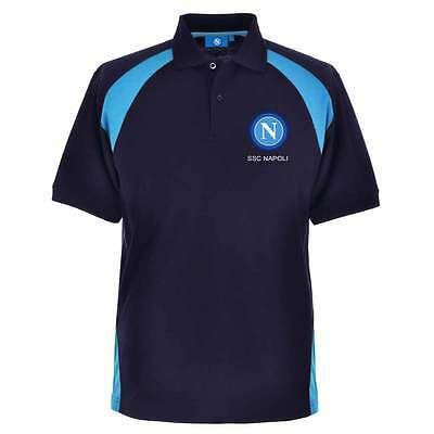 SSC Napoli Leisure Polo Shirt - (Navy Cyan)