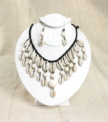 """NEW African Style White Cowrie Shell Necklace earrings ethnic tribal 12"""" long"""