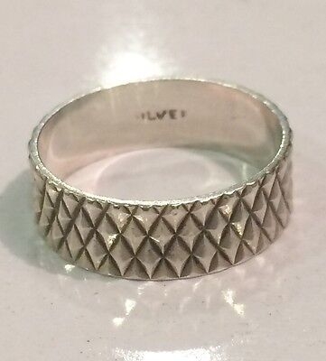 Sterling Silver Vintage Wedding Band Style Ring Diamond Cut Design 6mm Size N