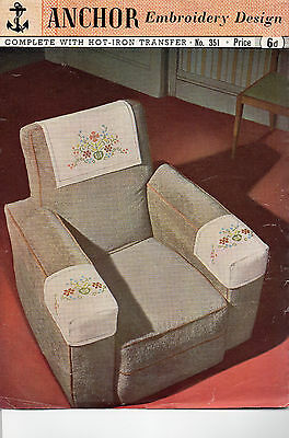 Vintage ANCHOR Embroidery Design no. 351 complete with transfer - Chair back
