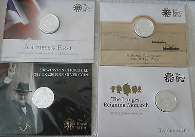 FOUR 20 pound SILVER coins UK 2013, 2014, 2015 mint sealed, no longer available