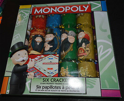 MONOPOLY Six Crackers & Mini Property Trading Board Game NEW Sealed