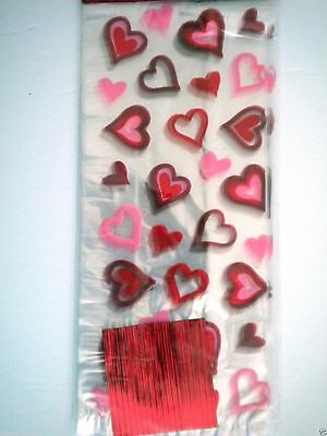 "Pkg. of 25 ""VALENTINE"" Luxury Cello Candy Bags ~ 5"" x 11"" ~ #1"