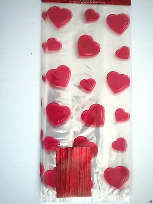 "Pkg. of 25 ""VALENTINE"" Luxury Cello Candy Bags ~ 5"" x 11"" ~ #5"