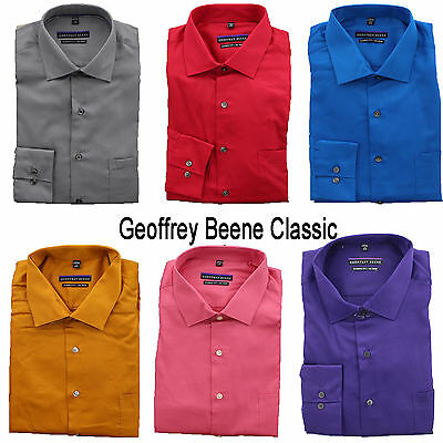New Geoffrey Beene Men's No Iron Wrinkle Free LS Classic Fit Dress Shirt 14-19