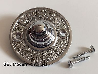 Round Door Bell Antique Mains Wire Vintage Push Button Chrome Victorian Doorbell