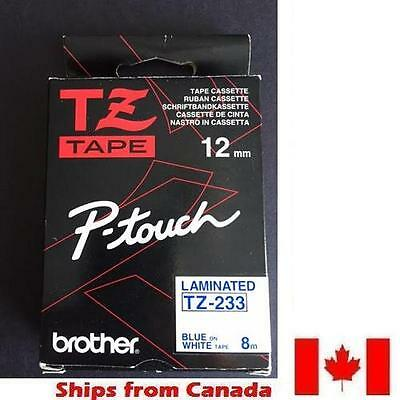 GENUINE BROTHER P-Touch RIBBON TAPE LABEL 12mm TZ-233 BLUE on WHITE - 8m