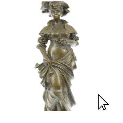 Signed Cesar Ceribelli Les Roses Classy Society Lady With Rose Bronze Sculptur