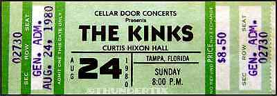 6 1973 -83  KINKS VINTAGE UNUSED FULL CONCERT TICKETS scrapbooking collect cool