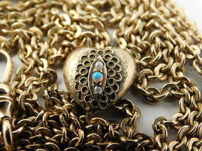 """Vintage Opal Seed Pearl Gold Filled Watch Fob Chain Heart Pocket 48"""" Long"""