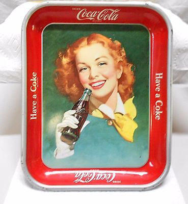 Vintage 1950's Coca-Cola Tray- Girl with the Red Hair Tray Collector Piece.