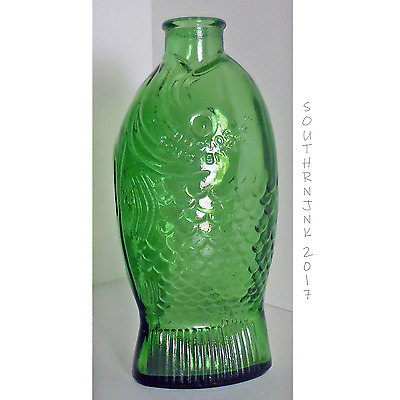 Dr. Fisch's Bitters Green Glass Fish Bottle Wheaton/Millville New Jersey Vintage