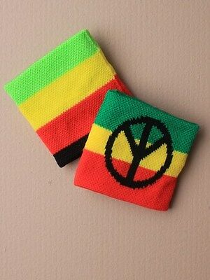 Boys Striped Rasta/Peace Sign Wristband Sweatband (2157) - Great For Party Bags