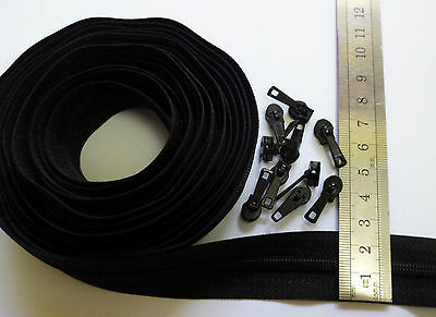 5 metres Black Zip Continuous nylon spiral Upholstery sewing pinlock number No 3