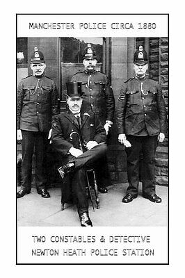 PHOTO TAKEN FROM a 1880 IMAGE - MANCHESTER POLICE - DETECTIVE & 2 CONSTALESS