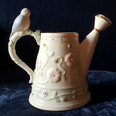 LENOX Petals & Pearls Bluebird Bud Vase Watering Can Collectible Discontinued !!