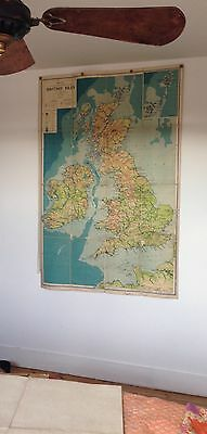 Large old philips classroom map of The British Isles .Linen backed