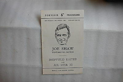 JOE SHAW testimonial Match Sheffield United Vs ALL STAR XI 29th Mar 1965