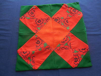 Vintage Red & Green Patchwork Pillow Cover