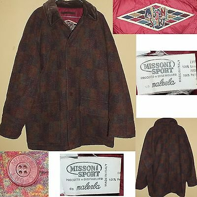 MISSONI SPORT by MALERBA Vintage 80s Cappotto Overcoat Lana Wool M Made in Italy